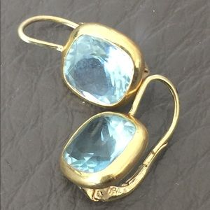 Jewelry - Exquisite 18 k Stamped Aquamarine Earrings